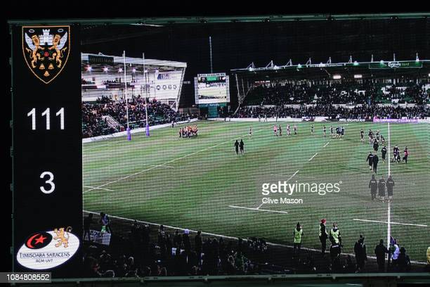 The final score is shown on the LED screen following the Challenge Cup match between Northampton Saints and Timisoara Saracens at Franklin's Gardens...
