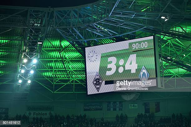 The final score is shown on the score board after the DFB Cup Round of 16 match between Borussia Moenchengladbach and Werder Bremen at BorussiaPark...