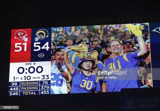 The final score of 5451 is seen on the screen after the Los Angeles Rams defeated the Kansas City Chiefs in their Monday Night Football game at Los...