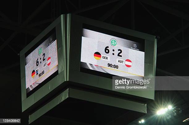 The final score of 62 is displayed on a video cube after the UEFA EURO 2012 qualifying match between Germany and Austria at VeltinsArena on September...