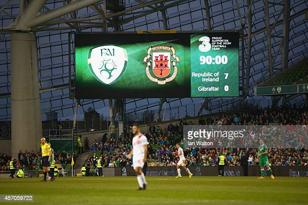 The final score of 70 is shown on the scoreboard during the EURO 2016 Qualifier match between Republic of Ireland and Gibraltar at Aviva Stadium on...