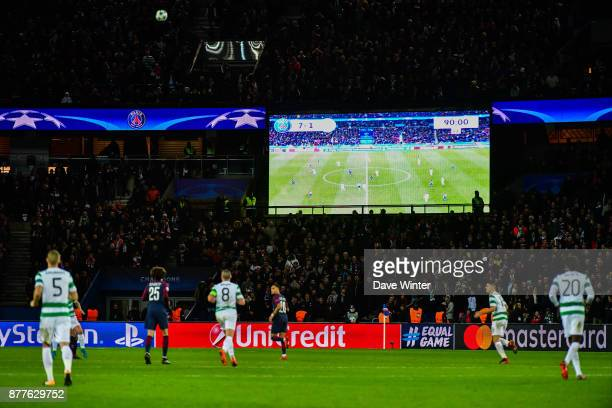 The final score on the giant screen during the UEFA Champions League match between Paris Saint Germain and Glasgow Celtic at Parc des Princes on...