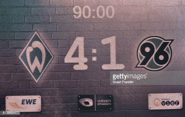 The final scoreboard at the end of the Bundesliga match between Werder Bremen and Hannover 96 at Weserstadion on March 5 2016 in Bremen Germany