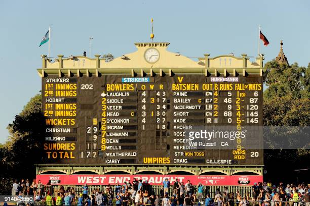 The final scoreboard can be seen after the Big Bash League Final match between the Adelaide Strikers and the Hobart Hurricanes at Adelaide Oval on...