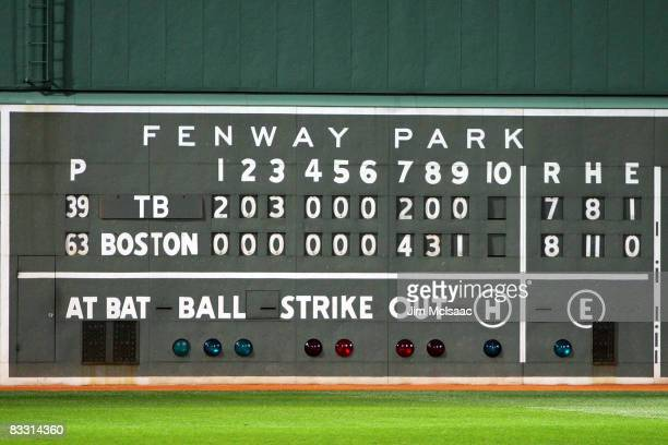 The final scoreboard is seen after the Boston Red Sox defeated the Tampa Bay Rays after game five of the American League Championship Series during...
