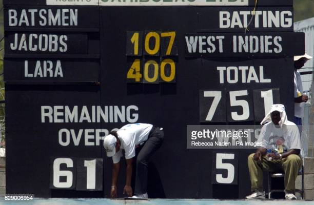 The final scoreboard showing West Indian captain Brian Lara's record breaking score of 400 runs not out and declaring on 751 against England during...