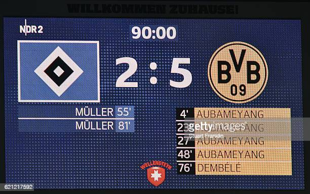 The final scoreboard shows the result 52 at the end of the Bundesliga match between Hamburger SV and Borussia Dortmund at Volksparkstadion on...