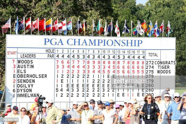 The final scores after the final round of the 89th PGA Championship at the Southern Hills Country Club on August 12 2007 in Tulsa Oklahoma