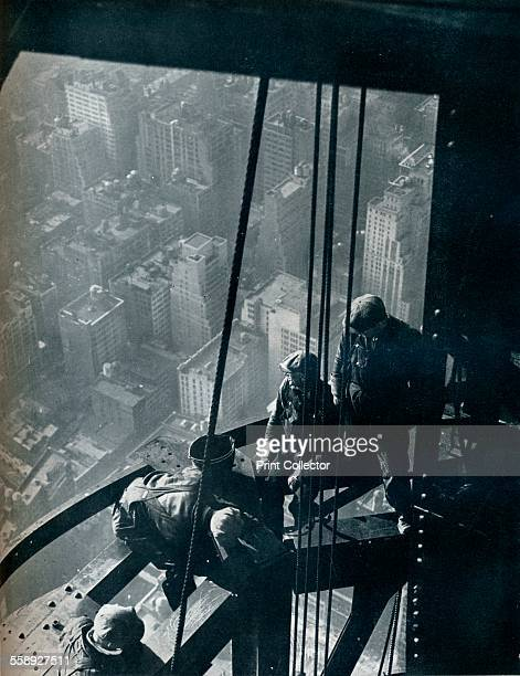 'The final stages of the Mast the street is some quarter mile below' c1931 'The final stages of the Mast the street is some quarter mile below...