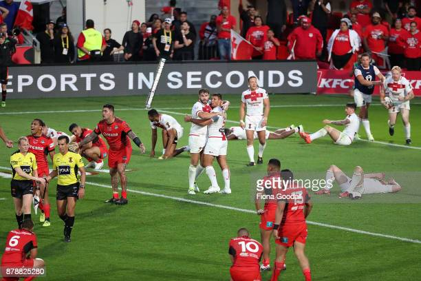 The final whistle during the 2017 Rugby League World Cup Semi Final match between Tonga and England at Mt Smart Stadium on November 25 2017 in...