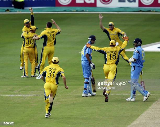 The final wicket of Zaheer Khan of India caught by Darren Lehmann off the bowling of Glenn McGrath earns Australia the World Cup at the ICC Cricket...