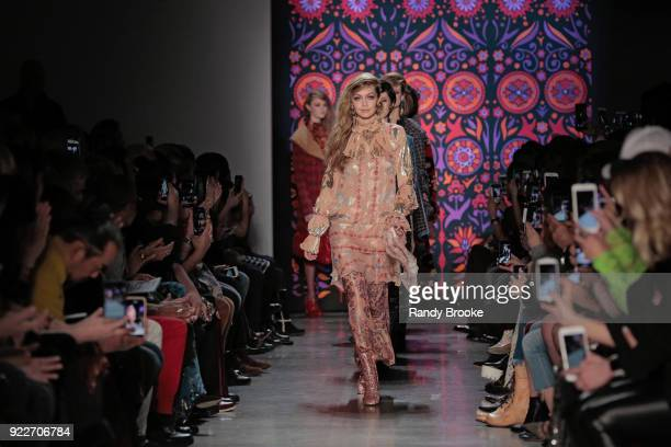 The finale led by Gigi Hadid on the runway during the Anna Sui fashion show February 2018 New York Fashion Week The Shows at Gallery I at Spring...