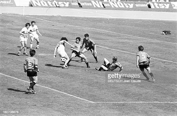 The Finale Of The 1971 French Soccer Cup Between Stade Rennais And Oympique Lyonnais Lors du match sur le terrain un joueur de de l'Olympique...