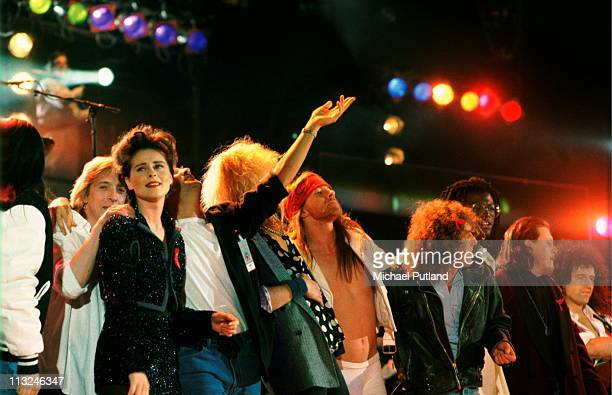 The Finale of the Freddie Mercury Tribute Concert for AIDS Awareness at Wembley Stadium on Easter Monday, April 20th 1992, including Mick Ronson,...