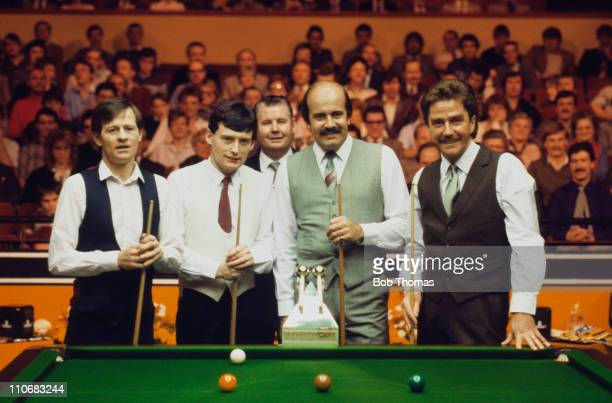 The finalists at the snooker World Doubles Championship at the Derngate Centre Northampton December 1984 Left to right Alex Higgins Jimmy White...