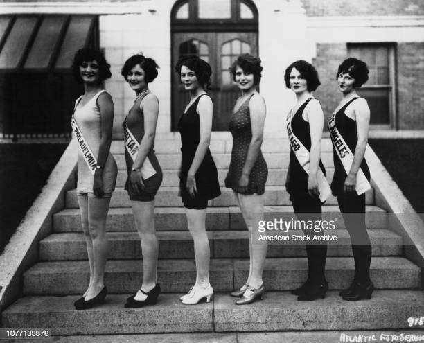 The finalists in the Miss America beauty contest at Atlantic City, New Jersey, 13th June 1925. Miss Philadelphia, Miss Manhattan, Miss Chicago and...