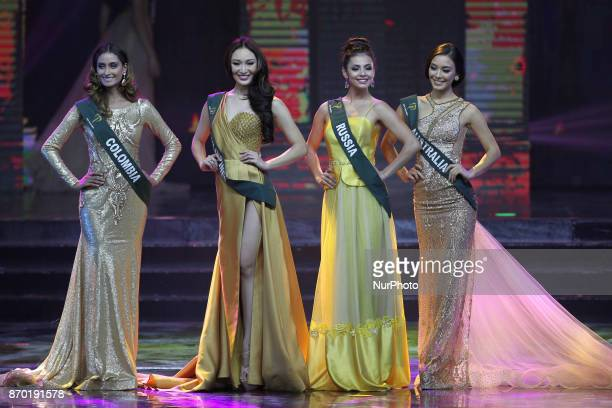 Juliana Franco of Colombia Karen Ibasco of the Philippines Lada Akimova of Russia and Nina Robertson of Australia during the MIss Earth 2017...