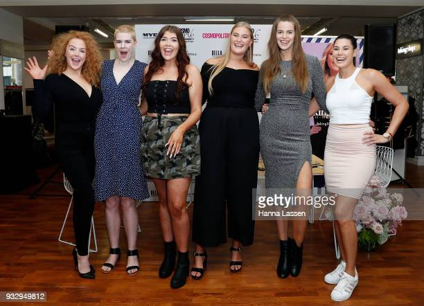 The finalists of Cosmo Curve and the winner Sarah Bolt pose at the Cosmo Curve on March 17 2018 in Sydney Australia