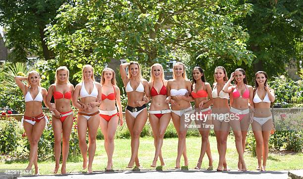 The finalists of Miss England, Miss Sandhurst, Francesca Hall, Miss Northamptonshire, Giorgia Davies, Miss Sussex, Lucy Kent, Miss Cornwall, Briony...