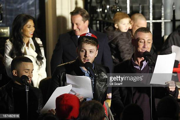 The finalists of the Xfactor programme, James Arthur , Jahmene Douglas and Christopher Maloney sing Christmas carols at the turning on the lights of...