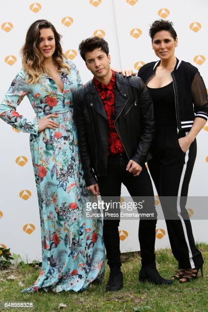 The finalists of 'Tu cara me suena' tv show Lorena Gomez Blas Canto and Rosa Lopez attend a photo session on March 6 2017 in Madrid Spain
