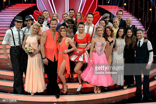 The finalists pose on stage after the 2nd show of the television competition 'Let's Dance' on March 20 2015 in Cologne Germany