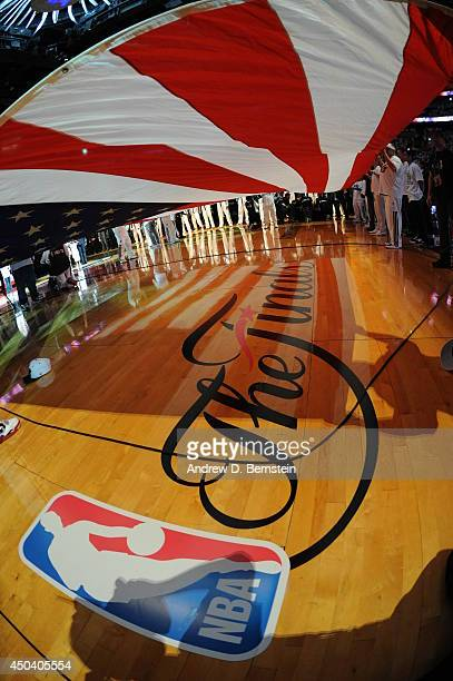 The Finals logo on the floor during the national anthem before Game Three of the 2014 NBA Finals between the Miami Heat and San Antonio Spurs at the...