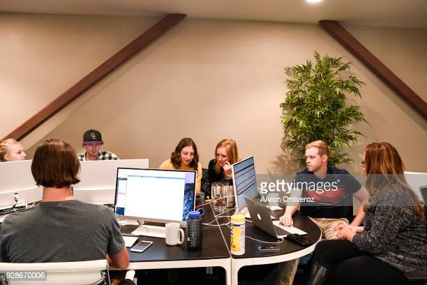 The finance department works on the reimplementation of accounting software during a day in the office at Velocity Global on Tuesday March 6 2018