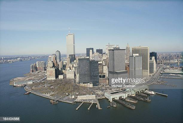The financial district of Manhattan New York City as viewed from a helicopter 1989