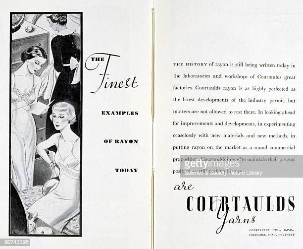 The Finest Examples of Rayon Today are Courtaulds Yarns'. An advertisement for Courtaulds Limited from 'The Story of Rayon and Other Synthetic...