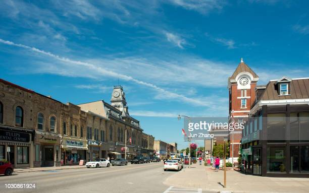 the finest late 19th century streetscape example in ontario,  canada - ontario canada stock pictures, royalty-free photos & images