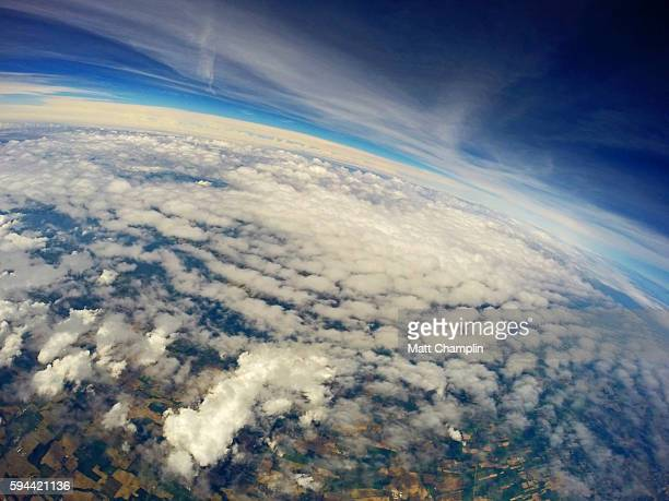 the finger lakes from near space weather balloon - meteorology stock pictures, royalty-free photos & images
