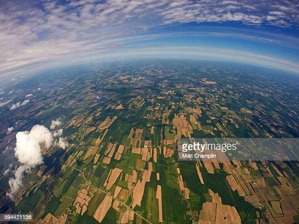 the finger lakes from near space weather balloon - weather balloon stock pictures, royalty-free photos & images