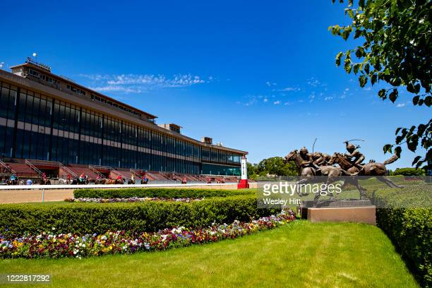 The finish line as the horses are led to the starting gate on Derby Day at Oaklawn Racing Casino Resort with no fans in the stands on May 2 2020 in...