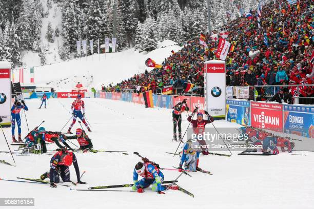 the finish line during the IBU Biathlon World Cup Men's and Women's Mass Start on January 21 2018 in AntholzAnterselva Italy
