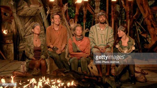 The Finish Line Is In Sight Angela Perkins Donathan Hurley Jenna Bowman Sebastian Noel and Chelsea Townsend at Tribal Council on the eleventh episode...