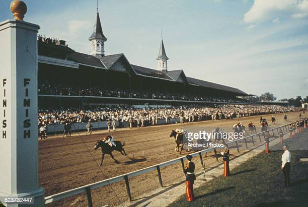The finish of the Kentucky Derby at Churchill Downs in Louisville Kentucky circa 1960