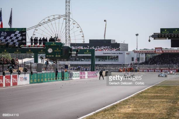 The finish of the LMP1 Porsche LMP Team Porsche 919 Hybrid with drivers Timo Bernhard / Earl Bamber / Brendon Hartley as winner of the Le Mans 24...