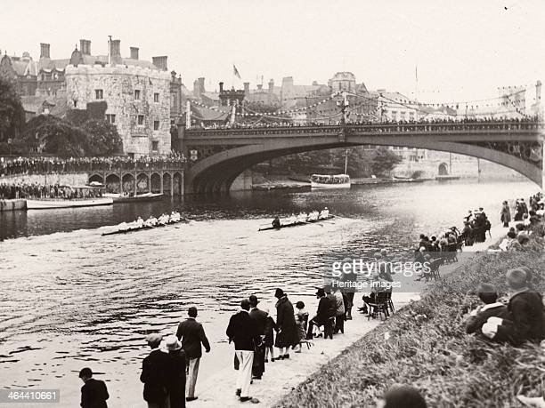 The finish of the Scratch Eights York Regatta River Ouse York Yorkshire 1928