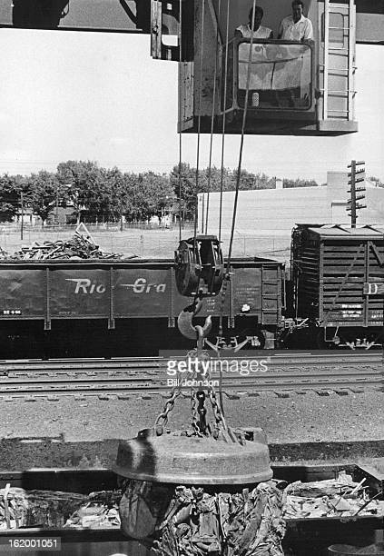 JUL 7 1966 JUL 13 1966 The finished products are lifted into gondola railroad cars by the overhead steel ad crone fitted with art electro magnet The...