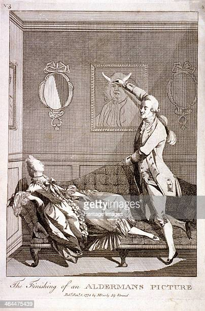 'The Finishing of an Alderman's Picture' 1773 an alderman's wife reclines on a sofa whilst her lover adds cuckold's horns to her husband's portrait