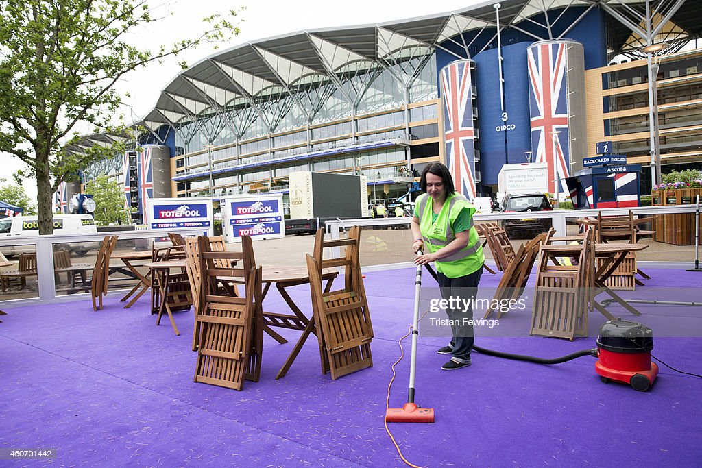 The finishing touches are added ahead of Royal Ascot 2014 at Ascot Racecourse on June 16, 2014 in Ascot, England.