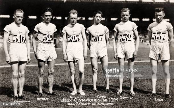 The Finland gold medalists in the men's 3000 metres team event during the Summer Olympic Games in Paris circa 1924 Left to right Frej Liewendahl...
