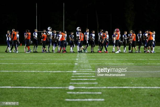 The Finland players shake hands with the Netherland players after victory in the IFAF 2020 European Championship Qualification, European Division C...