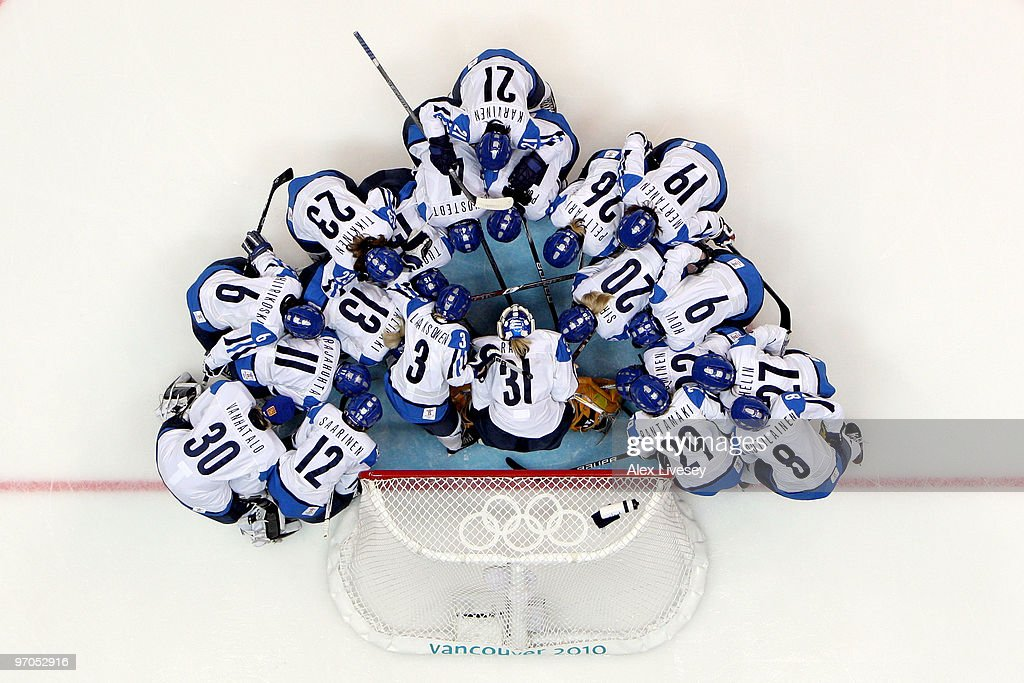 The Finland team huddle up prior to face off during the ice hockey women's bronze medal game between Finland and Sweden on day 14 of the Vancouver 2010 Winter Olympics at Canada Hockey Place on February 25, 2010 in Vancouver, Canada.