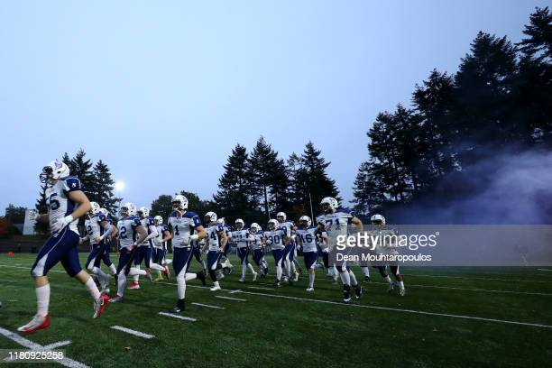 The Finland team run out prior to the IFAF 2020 European Championship Qualification European Division C match between Netherlands and Finland at...