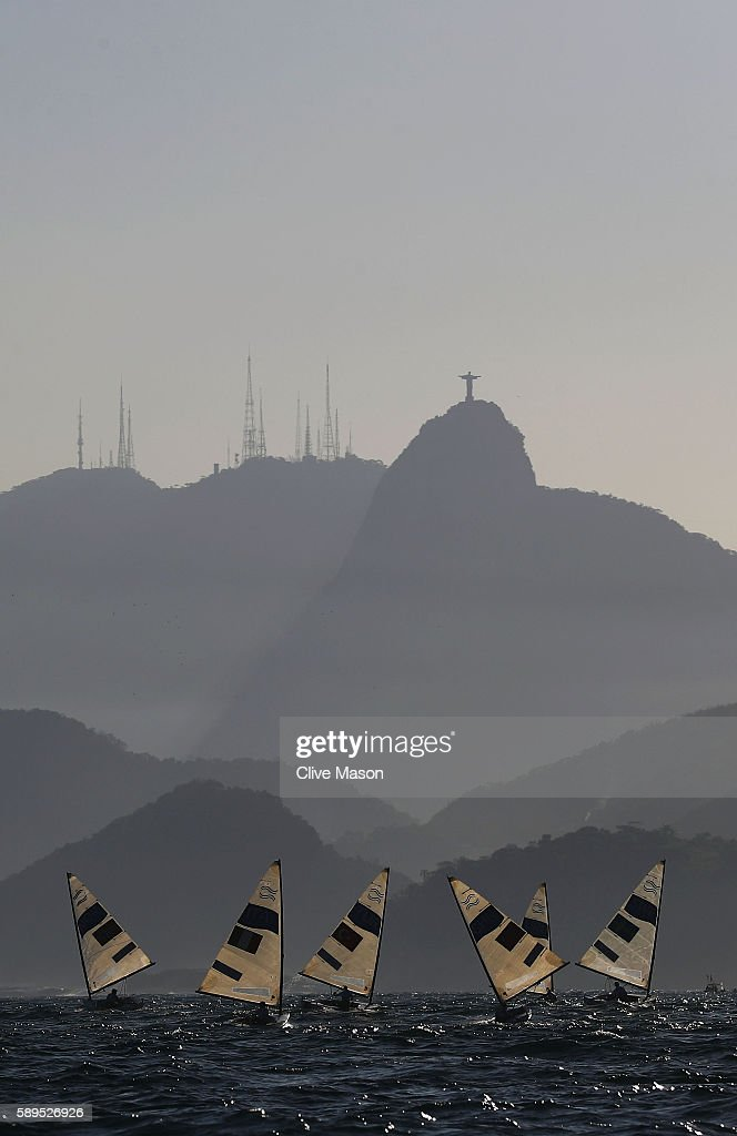 The Finn class competes on Day 9 of the Rio 2016 Olympic Games at the Marina da Gloria on August 14, 2016 in Rio de Janeiro, Brazil.