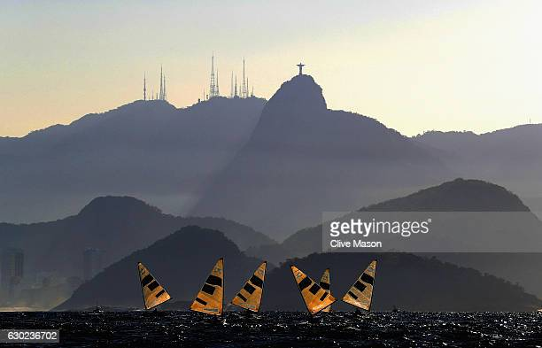 The Finn Class fleet in action during their second race of the day on Day 9 of the Rio 2016 Olympic Games at the Marina da Gloria on August 14 2016...
