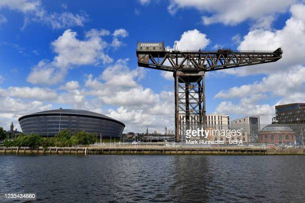 The Finnieston Crain and SSE Hydro on banks of the River Clyde during the UEFA Euro 2020 Championship on June 13, 2021 in Glasgow, United Kingdom.