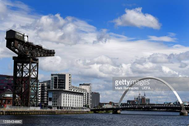 The Finnieston Crain and The Clyde Arc , on banks of the River Clyde during the UEFA Euro 2020 Championship on June 13, 2021 in Glasgow, United...